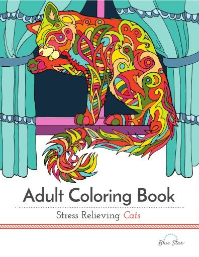 Adult coloring book stress relieving cats digital Coloring book subscription