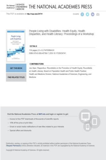 People Living with Disabilities : Health Equity, Health Disparities, and Health Literacy: Proceedings of a Workshop