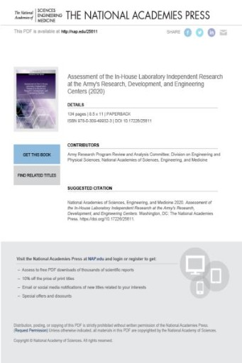 Assessment of the In-House Laboratory Independent Research at the Army's Research, Development, and Engineering Centers