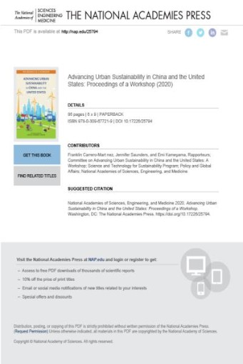 Advancing Urban Sustainability in China and the United States : Proceedings of a Workshop