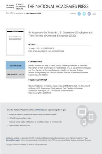 An Assessment of Illness in U.S. Government Employees and Their Families at Overseas Embassies